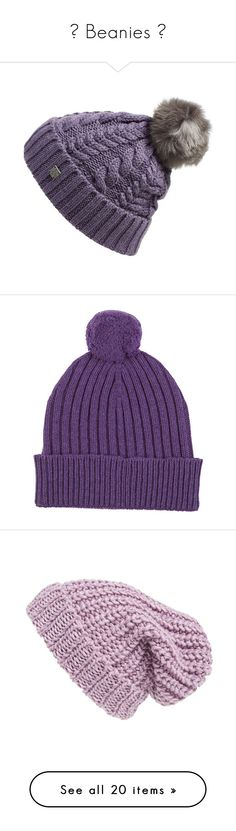 """ Beanies "" by pretty-fashion-designs ❤ liked on Polyvore featuring accessories, hats, desert purple, purple beanie hat, oversized slouchy beanie, ski hat, slouchy hat, slouchy beanie, purple and pom pom hat"