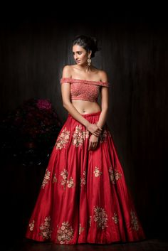 Light Lehengas - Red Off-Shoulder Sequinned Blouse with a Scattered Motif…