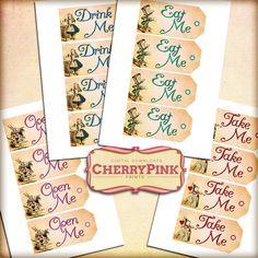 Hola y Bienvenidos a Cherrypinkprints! Por favor asegúrese de revisar mis productos todo juego de Alice, hay mucho que encontrar! http://www.etsy.com/shop/CherryPinkPrints?section_id=12800193 DESCRIPCIÓN DEL ARTÍCULO Este listado está para un bonito conjunto de Alicia vintage etiquetas del país de las maravillas, perfecto para añadir un toque personal a sus regalos! Cada etiqueta está adornado con colores brillantes e ilustraciones de los libros de Alicia. Recibir...