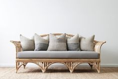 Queenslander Daybed. | Naturally Cane Rattan and Wicker Furniture Cane Furniture, Wicker Furniture, Throw Cushions, Seat Cushions, Coffee Table Accessories, Bamboo Canes, Queenslander, Mattress Covers, 3 Seater Sofa