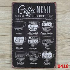 COFFEE MENU VINTAGE  Tin Sign Bar pub home Wall Decor Retro Metal ART Poster  #ArtsCraftsMissionStyle