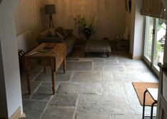 Antique reclaimed York stone flooring for interiors. Refined and smoother selection for inside use with underfloor heating. Sizes from 300 x to 700 x 1300 x 30 mm thickness. - click now for info. Stone Tile Flooring, Flagstone Flooring, Natural Stone Flooring, Slate Flooring, Travertine Floors, Living Room Flooring, Kitchen Flooring, Stone Kitchen Floor, Kitchen Sink
