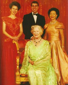Photo taken on occasion of the birthdays of The Princess Royal (40), The Duke of York (30), The Princess Margaret (60), and The Queen Mother (90), 1990.