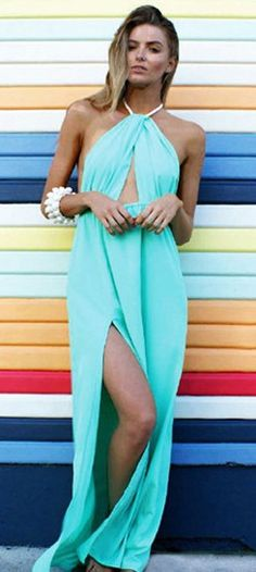 blue plain halter backless side slits sexy chiffon dress