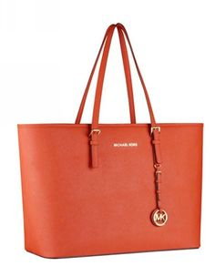 5f5df4ddf Michael Kors Jet Set Travel Tote Tangerine Leather Michael Kors Factory  Outlet, Chanel Handbags,