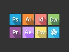 Dribbble - Flat Adobe Icons by Justin Seeley