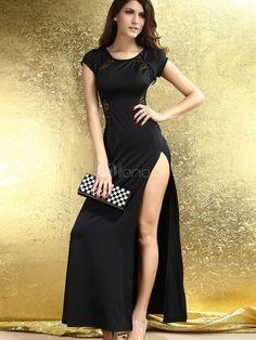 High Split Jewel Neck Lace Short Sleeves Women's Maxi Dress - http://www.milanoo.com/product/high-split-jewel-neck-lace-short-sleeves-women-s-maxi-dress-p549233.html