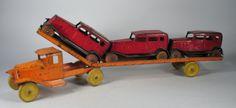 "1930s Wyandotte Pressed Steel Giant Car Carrier Truck 3 Original Sedans 22"""