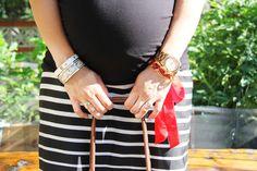 Motherhood Maternity top and skirt, Henri Bendel, Baublebar, and Gorjana bracelets, MK watch, Lonchamp bag