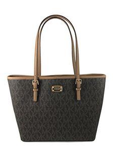 66407cb9bd86 MICHAEL KORS PVC JET SET TRAVEL LARGE DRAWSTRING TOTE BAG Brown PVC.  fashionomega.com. MK signature ...