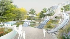 "The Battery Conservancy ""Adventure Bluffs"" will include stone slides and lots of greenery."
