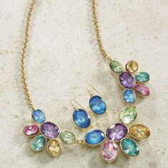 Pastel Crystal Sparkling Cluster Necklace with Matching Earrings from Monroe and Main