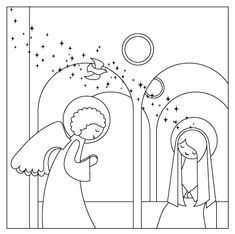 Free Printable Coloring Page of Nativity Story from the Nativity Advent Calendar kit. Second step in the countdown to Christmas, the annunciation of Mary.
