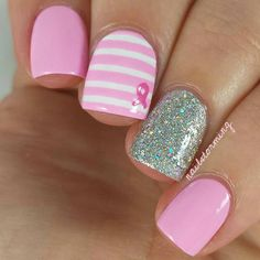 breast cancer awareness, signs and symptoms for very early discovery as well as methods to survive breast cancer cells Hot Nails, Hair And Nails, Breast Cancer Nails, October Nails, Nagel Bling, Uñas Fashion, Cute Nail Designs, Art Designs, Nagel Gel
