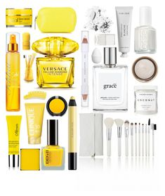 """""""Yellow/White Beauty"""" by stacey-lynne ❤ liked on Polyvore featuring beauty, Bobbi Brown Cosmetics, Essie, By Terry, philosophy, Byredo, Herbivore, shu uemura, Nails Inc. and H&M"""
