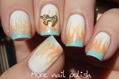 This Unicorn dances on Pastel Flames - flame needle drag from More Nail Polish