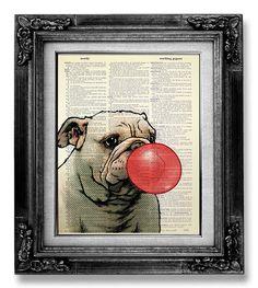 DECORATIVE Art, BULLDOG Wall Hanging, English Bulldog Print, French Bulldog Decor, Dog Drawing Dog Poster Pop Art - Bull Dog Red Bubblegum