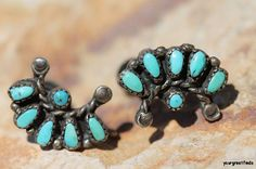 Vintage Hand Made Zuni Sterling Silver & Petit Point Turquoise Screw Back Earrings