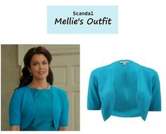 "On the blog: On the blog: Mellie Grant's (Bellamy Young) blue shrug/bolero | Scandal - ""We Do Not Touch the First Ladies"" (Ep. 312) #tvstyle #tvfashion #fashion #outfits #FLOTUS"