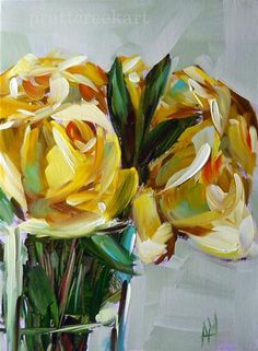 "Angela Moulton: ""Yellow Roses in Vase""."