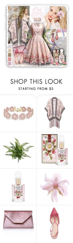 """Vintage Pink Party Dress & Kimono Shawl"" by franceseattle ❤ liked on Polyvore featuring Silvana, Avenue, BaubleBar, Anna Sui, Carvela, Kate Spade and vintage"