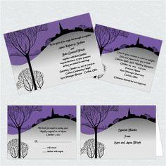 formal Halloween themed wedding invitations