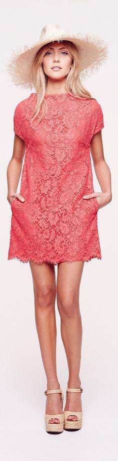 Coral lace mini-dress ~ Collette Dinnigan Resort 2014 #fashion #style