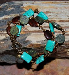 Turquoise Red Tiger Eye and Serpentine and by solagratiadesigns, $38.00