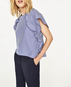 STRIPED TOP WITH FRILLED SLEEVES-View All-TOPS-WOMAN | ZARA United States