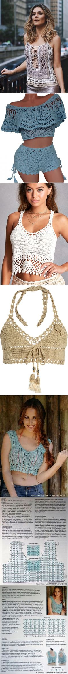Crochetemoda Blog: Crochet Tops.Идеи. // Taika