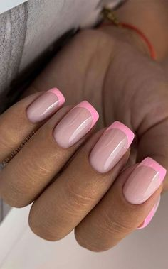 French Tip Acrylic Nails, French Manicure Nails, Square Acrylic Nails, Pink Acrylic Nails, Square Nails, Colored Nail Tips French, Short French Tip Nails, French Manicure Designs, French Tips
