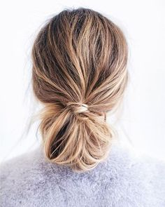 Match low bun hairstyle with highlight hair color the final look is so beautiful