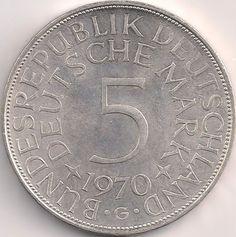 Wertseite: Münze-Europa-Mitteleuropa-Deutschland-Deutsche-Mark-5.00-1951-1974