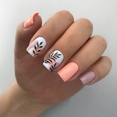 Classy Nails, Stylish Nails, Trendy Nails, Cute Nails, Cute Spring Nails, Summer Nails, Cute Simple Nails, Spring Nail Art, Acrylic Nails Coffin Short