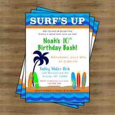 Surfs Up Invitation; Surf Birthday Invitation; Pool Party Invitation; Beach Party Invitations; Surf Party; Surfboard; Printable Invitations by SophisticatedSwan on Etsy