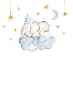 Sleeping Elephant and Girraffe - Baby Shower Invitation Template | Greetings Island