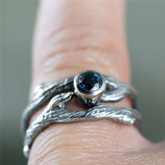 Blue Sapphire Twig Style Engagement Ring and by ASecondTime