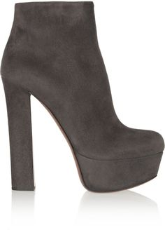 Charcoal Suede Ankle Boots by Alaia. Buy for $595 from The Outnet
