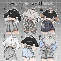 Anime Outfits, Grunge Outfits, Kleidung Design, Drawing Anime Clothes, Manga Clothes, Dress Drawing, Clothing Sketches, Cute Art Styles, Fashion Design Drawings
