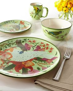 """16-Piece """"Parrotdise"""" Dinnerware Service by Lynn Chase Designs at Neiman Marcus."""