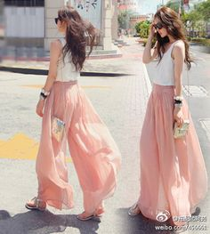 Pink Chiffon Pants to go with my fabulous party shoes