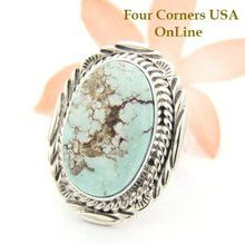 Dry Creek Turquoise Oval Stone Ring Size 7 1/4 Navajo Virgil Chee Four Corners USA OnLine Native American Silver Jewelry NAR-1454