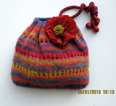 Knit felted pouch bag drawstring bag or purse made with by caramia, $36.85
