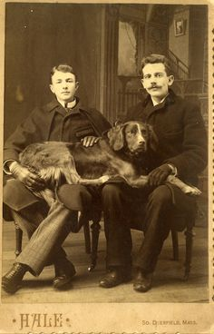 Homo History: Two Men and their Dog, from Vintage Doggy Images Vintage, Vintage Dog, Vintage Pictures, Old Pictures, Antique Photos, Vintage Photographs, Victorian Photos, Photos With Dog, Man And Dog
