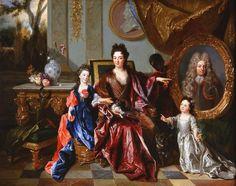 Messire Jean François de Noailles, Marquis de Noailles (1658-1696); sa femme Dame Marguerite Thérèse Rouillé de Meslay, et leurs deux filles.