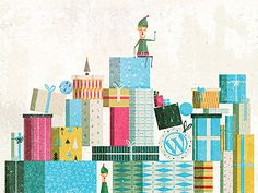 Illustration for the Wordpress' Holiday Wallpaper/Xmas Card. Should be on their blog any day now.