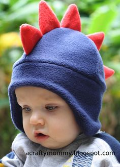 Dino hat - she shows how to draft a pattern for any size head