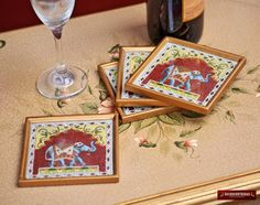 Drink Glass Coaster Set 4 from Peru 'The Giant' by DECORCONTRERAS