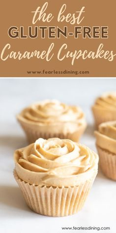 If you love caramel, these delicious gluten free caramel cupcakes make a delicious dessert. Topped with caramel flavored buttercream. Easy decorations to make a flower design with the frosting. fearlessdining Gluten Free Caramel Cake Recipe, Best Gluten Free Cupcake Recipe, Gluten Free Party Food, Best Gluten Free Desserts, Gluten Free Cupcakes, Gluten Free Baking, Healthy Baking, Free Food, Gf Recipes