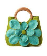 {Guadelupe Apple Flower Raffia Handbag} Love the flower